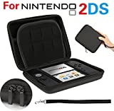 GPCT Nintendo 2DS Hard Shell EVA Carry Case Cover Bag. Protects Against Bumps/Drops/Dust/Dirt/Scratches. Protective Travel Storage Cover Pouch W/ 8 Game Holders, Double Zipper Zip Pocket- Black