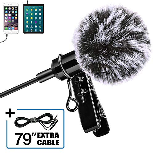 Professional Lavalier Microphone for iPhone, Camera, PC, Android, Omnidirectional Lapel Mic with Deadcat Windscreen Perfect for Video Recording, Smartphones, YouTube, Vlogging