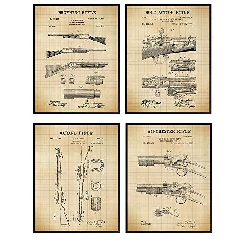 Antique Rifles Patent Art Prints - Vintage Wall Art Poster Set - Chic Home Decor for Den, Man Cave, Office - Great Gift for Men, Gun, Shotgun, Firearms, Second Amendment, NRA - 8x10 Photos - Unframed