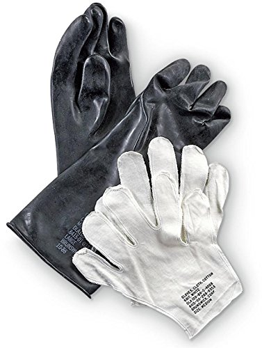 Military Outdoor Clothing New Black Rubber Chemical Gloves, Medium