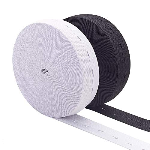 BENECREAT 1-Inch 20 Yards Elastic Stretch Band Buttonhole Knit Elastic Band and 20PCS Resin Buttons for Skirts Shorts Pants Waistline Adjusting (10 Yards White, 10 Yards Black)