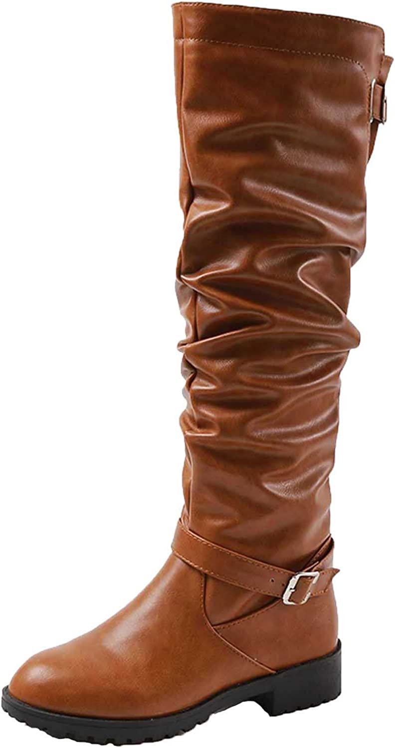 Women's Slouchy Fall Boots Knee High Round Toe Anti-slip Walking Hiking Boots Side Zipper Leisure Party Winter Long Boots