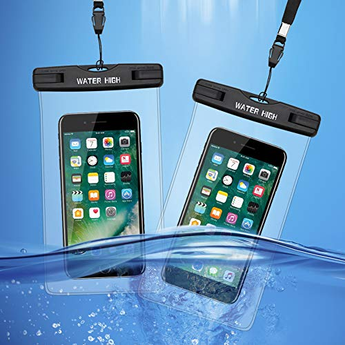 Waterproof iPhone Cases Waterproof Phone Pouches for iPhone X XS XR 8 7 6 6S Plus, Samsung Galaxy S9 S8 Note 8 6 5 4, Clear, 2 Packs