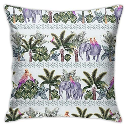 N/Q 45X45cm Throw Pillowcase,Personal Family Modern Animal Kingdom Boarder Pattern Creative Pattern Square Outdoor Pillowcase Sofa Cover Decorative Cushion Cover, Soft, Used for Car Bed Living Room
