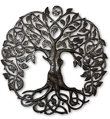 Large Celtic Tree of Life, Decorative Artwork, Outdoor Wall Art, Recycled Metal Haiti, 33 x 33 Inches