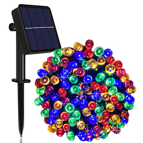 Solar String Lights Outdoor, 100ft 200 LED Solar Garden Fairy Lights Waterproof 8 Modes Solar Powered Decorative Lights for Patio, Garden, Yard, Tree, Home, Party - Multi-Colored [Energy Class A+++]