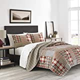 Eddie Bauer Home | Hawthorne Collection | 100% Cotton, Reversible & Lightweight Quilt and Sham(s), Pre-Washed for Extra Comfort, King, Brown