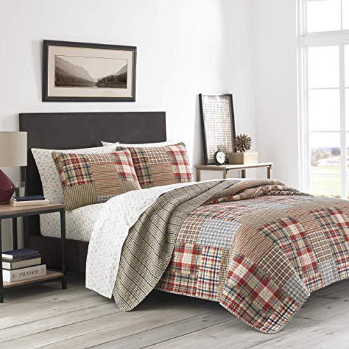 Eddie Bauer Hawthorne-Kollektion | 100% Baumwolle, wendbar und leicht, Tagesdecke, 3-teiliges Bettwäsche-Set, vorgewaschen für extra Komfort, Kingsize, Braun