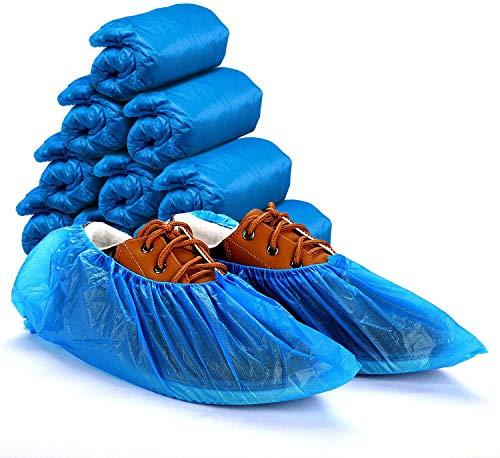 Ezlife Copriscarpe Monouso Antiscivolo, 100 Pcs Copri Scarpe da Casa Usa e Getta impermeabili in Plastica CPE Extra Resistente Proteggi Scarpe Monouso Adatto per la Maggior Parte 15 * 39cm