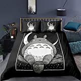 WuliDress Totoro Bedding Duvet Cover Set Queen Size Anime 3D Print Cartoon Cat Black Duvet Cover Sets Soft Breathable Hypoallergenic Bedding 1 Duvet Cover 2 Pillowcases