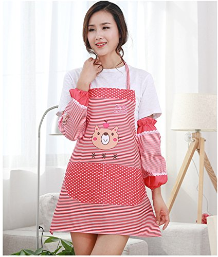 Abcsea Babero Delantal de cocina mujer, delantal con bolsillos para cocina,delantal con mangas mujer - Rojo