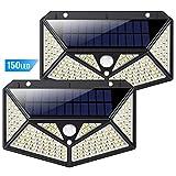 Luz Solar Exterior 150 LED, kilponen [Versión Innovadora 2200mAh] Foco Solar Potente con Sensor de Movimiento y 3 Modos de Iluminación Lámpara Solar Exterior Impermeable Luces Solares Jardín 2-Paquete