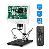 STPCTOU 7 Inch LCD Digital USB Microscope High Definition Display 12MP 1920x1080 30fps 200X Magnification Adjustable Stand 3D Visual Camera Video Recorder for Repair Soldering Tool Jewelry Use- White