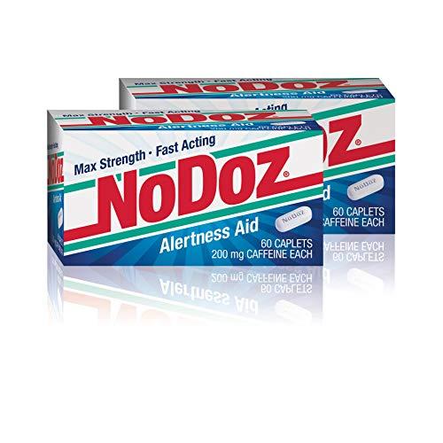 NoDoz 200mg Maximum Strength Caffeine Alertness Aid, 60 Caplet Twin Pack (120 Total Capsules)