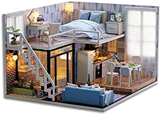 Bayin Dollhouse Kit DIY Furniture, Wooden Miniature Doll House Creative Room Gift (Blue Leisure Life) with Dust Proof Cover, Music Movement