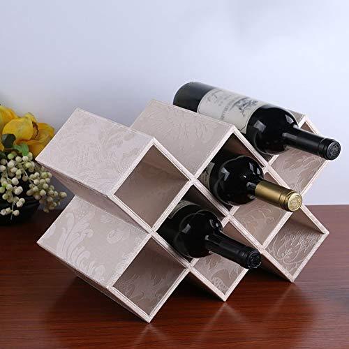 Botellero de Madera 8 Botellas DIY para encimera Sala de Estar Estante de Almacenamiento de gabinete de Vino de Madera Grande (Color: Beige)