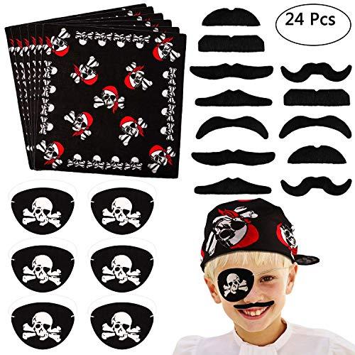 Tacobear 24pcs Piraten Kostüm Zubehör Piraten Party Mitgebsel Kinder Piratenkapitän Augenklappe Piraten Bandana Kopftuch Falsche Schnurrbärte für Kinder Jungen Kindergeburtstag Mitgebsel