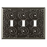 allen + roth Fairhope 3-Gang Antique Pewter Standard Toggle Metal Wall Plate