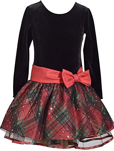 Bonnie Jean Long Sleeve Christmas Dress with Black Velvet and Red Tartan Plaid 5Y