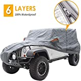 """Big Ant Car Cover for Wrangler 2 Door SUV Covers All Weather Protection 100% Waterproof SUV Cover Customer Fit for Wrangler Up to 170""""L,Gray with Driver Door Zipper"""