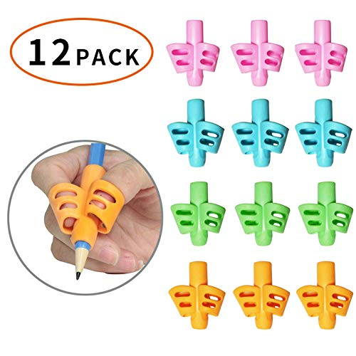 Jelacy Pencil Grips - Pencil Grips for Kids Handwriting, Writing Assisted Grip, Posture Correction Tool for Children's Preschool Children's Pencil Grip.(Pencil Grips 12 Pack) (Green)