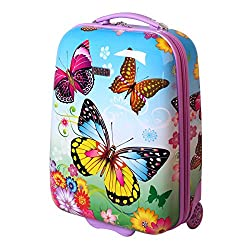 Karry Kids Suitcase Travel Trolley Hard Cases Hand Baggage Girl LED Skater Roll Butterfly Butterfly 819