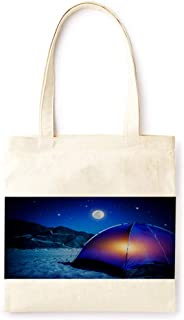 Cotton Canvas Tote Bag Modern Wild Tent Moon Light Luxury Style Fashion Printed Casual Large Shopping Bag for School Picnic Travel Groceries Books Handbag Design