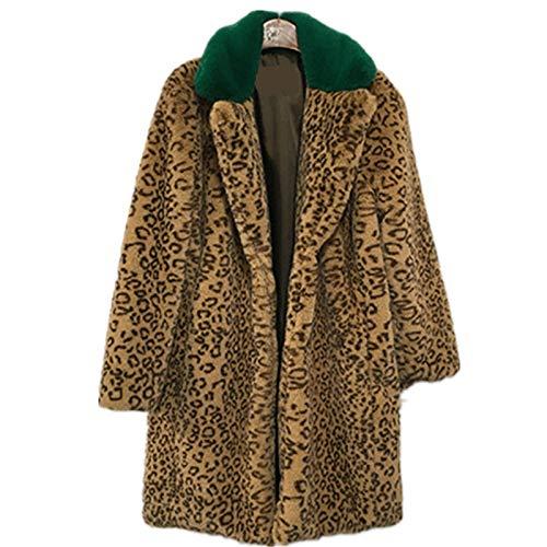 fixiyue Invierno imitación Conejo Pelo Casual Cortavientos Delgado Medio Largo más Abrigo de Piel de impresión de Leopardo XL Cuello Verde Tinta