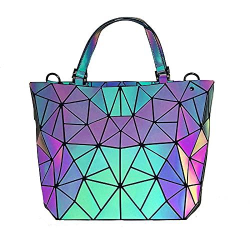 QIANJINGCQ, moderno, de tres piezas, con geometría, para mujer, bolso de moda, bolso de cubo luminoso, bolso de hombro, bolso de mensajero