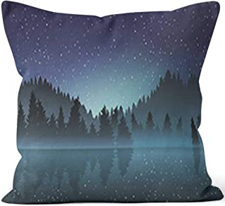 "Lakeview and Pine Wood at Night Throw Pillow Cushion Cover,HD Printing Decorative Square Accent Pillow Case,36"" W by 36"" L"