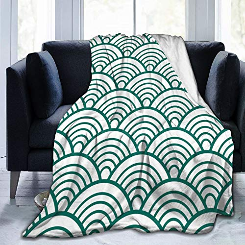 Minalo Personalized Fleece Blanket,White Green Traditional Wave Japanese Chinese Seigaiha,Living Room/Bedroom/Sofa Couch Bed Flannel Quilt Throw Blanket,50' X 60'