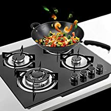 Gas Cooktop NG/LPG Gas Stove Cooktop Stove Burner Tempered Glass Cook Top Built in 4 Burners Gas Hob Grate Stovetop Cooker (4 Burners, 23.2'' x 20'')
