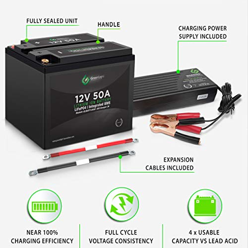 GLI Lithium-ion Deep Cycle Rechargeable Battery – 12v 50Ah IP54 Extreme Weather Resistant – up to 5,000 Cycle Long-Life – for Marine, Trolling Motors, RV, Off-Grid and Solar – with Charger & Cables