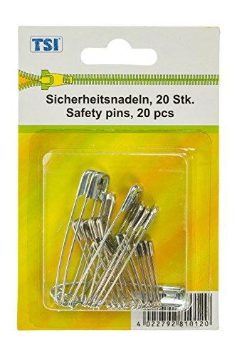 TSI Sicherheitsnadeln, Metall, Silber, 5 x 0.5 x 0.1 cm, 20-Einheiten