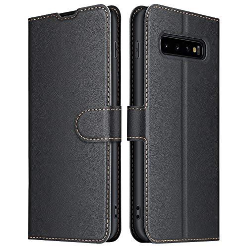 ELESNOW Hülle für Samsung Galaxy S10, Premium Leder Klappbar Wallet Schutzhülle Tasche Handyhülle für Samsung Galaxy S10 (Schwarz)