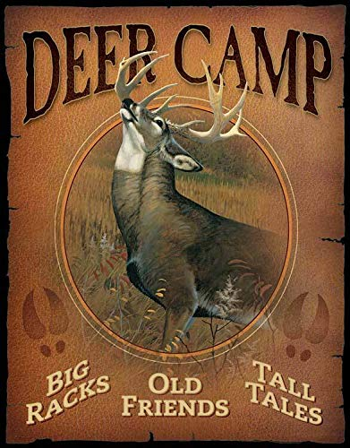 Funny Metal Tin Signs Vintage Deer Camp Home Decor Decorative Wall Sign Plaque Poster for Outdoor Patio Garage Indoor 8x12inch