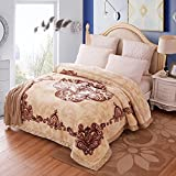 "9 lbs Heavy Korean Mink Blanket King Size, Silky Soft and Warm, 2 Ply Reversible Raschel Bed Blanket, 79×91"""