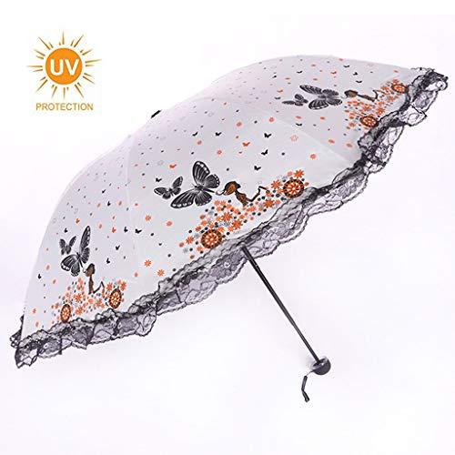 GFYS1201 Zakparasol, anti-uv-zonnescherm, kleine lichte kanten bloemendame opvouwbare parasols 210T 8 Ribs parasols