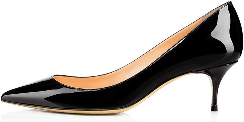 Amarantos Women's Pointed Toe Comfort Slip On Kitten Heel Dress Pumps shoes