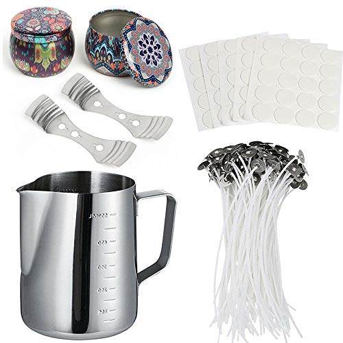 lecimo Candle Making Kit, DIY Candles Craft Tools with 1 x Stainless Steel Pour,2 x Candle Tin,2 x Candle Device,50 x Candle Wicks,100 X Candle Wick Stickers