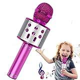 Micrófono Karaoke Bluetooth, Sin Luz 4 en 1 Multifunción Micrófono Inalámbrico Karaoke, Micrófono Altavoz Bluetooth para Cantar y Grabar, Regalos para Fiestas Niños, Compatible con Android/iOS PC.