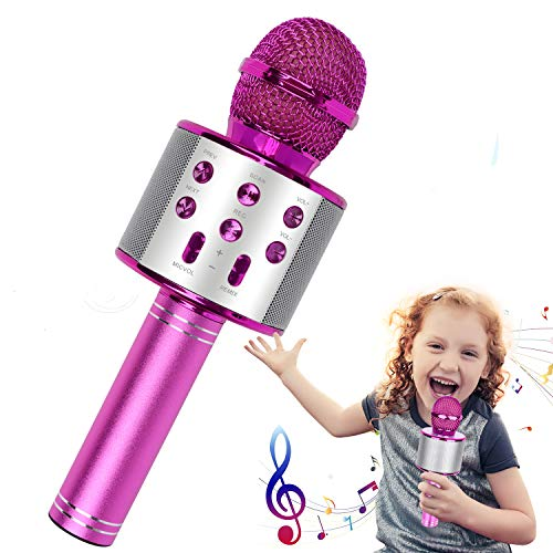 Karaoke Mikrofon, Drahtloses Bluetooth Karaoke Mikrofon Kinder, Tragbares 4-in-1 Handheld Microphone Maschine, Heim KTV Player mit Lautsprecher und Aufnahmefunktion, Kompatibel mit Android iOS und PC.