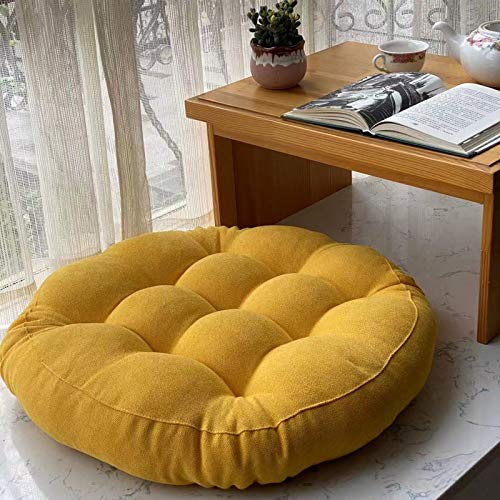 QSCV Soft Thick Yoga Meditation Cushion Ottoman,Solid Tufted Tatami Seat Cushion Reading Cushion Chair Pad,Round Floor Pillow Futon-Yellow 17'(42cm)