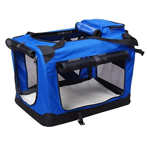 Bolsa de Transporte Perros Gatos Mascotas Viaje Tubo de Acero 4 Entradas, Medidas 60 x 42 x 42 cm, Color Azul Negro, Pawhut
