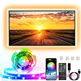 Striscia LED TV Retroilluminazione, Enteenly 5m Luci LED USB Alimentata con Telecomando e controllo APP, Striscia LED RGB 5050 HDTV da 55-75 Pollici, PC Monitor