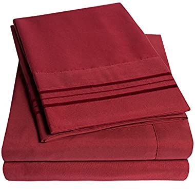 1500 Supreme Collection Extra Soft King Sheets Set, Burgundy - Luxury Bed Sheets Set With Deep Pocket Wrinkle Free Hypoallergenic Bedding, Over 40 Colors, King Size, Burgundy