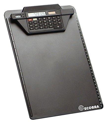 Ecobra 792250 Klemmbrett mit Rechner-Klemmschiene, schwarz