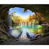 decomonkey Fototapete Wasserfall Landschaft 350x256 cm XL Tapete Fototapeten Vlies Tapeten Vliestapete Wandtapete moderne Wandbild Wand Schlafzimmer Wohnzimmer Natur