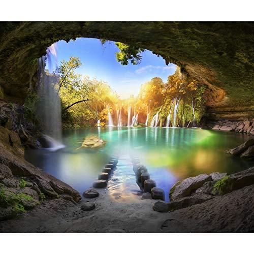 decomonkey Fototapete selbstklebend Wasserfall Landschaft 343x256 cm XL Selbstklebende Tapeten Wand Fototapeten Tapete Wandtapete klebend Klebefolie Natur