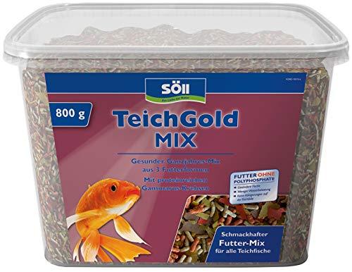 Söll 18815 TEICH-GOLD Mix Ganzjahresfutter 7 Liter - Futtermischung 3 Futterformen zum Füttern von Teichfischen im Fischteich Gartenteich, ausgewogene Fischernährung Fischgesundheit Fischvitalität
